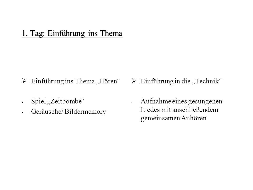 1. Tag: Einführung ins Thema Einführung ins Thema Hören Spiel Zeitbombe Geräusche/ Bildermemory Einführung in die Technik Aufnahme eines gesungenen Li