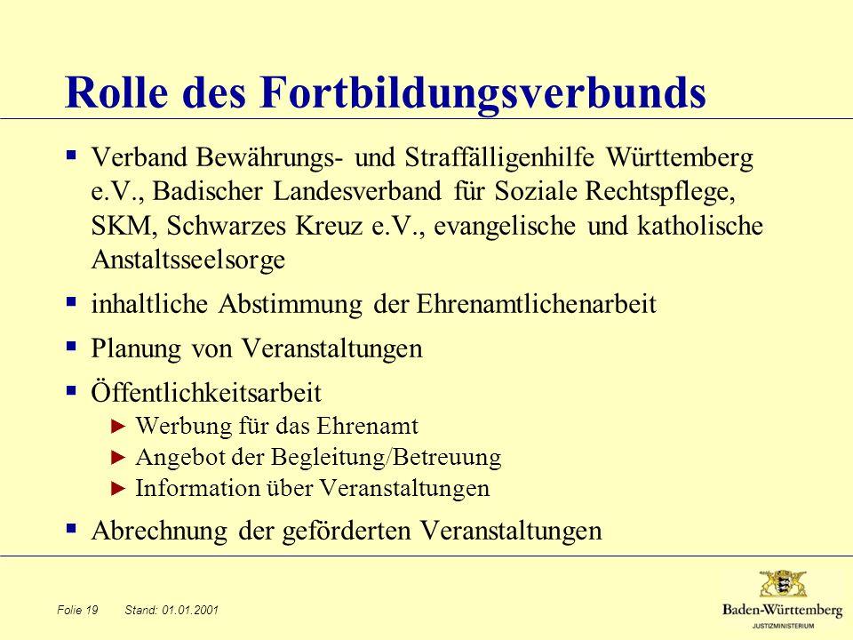 Stand: 01.01.2001 Rolle des Fortbildungsverbunds Verband Bewährungs- und Straffälligenhilfe Württemberg e.V., Badischer Landesverband für Soziale Rech
