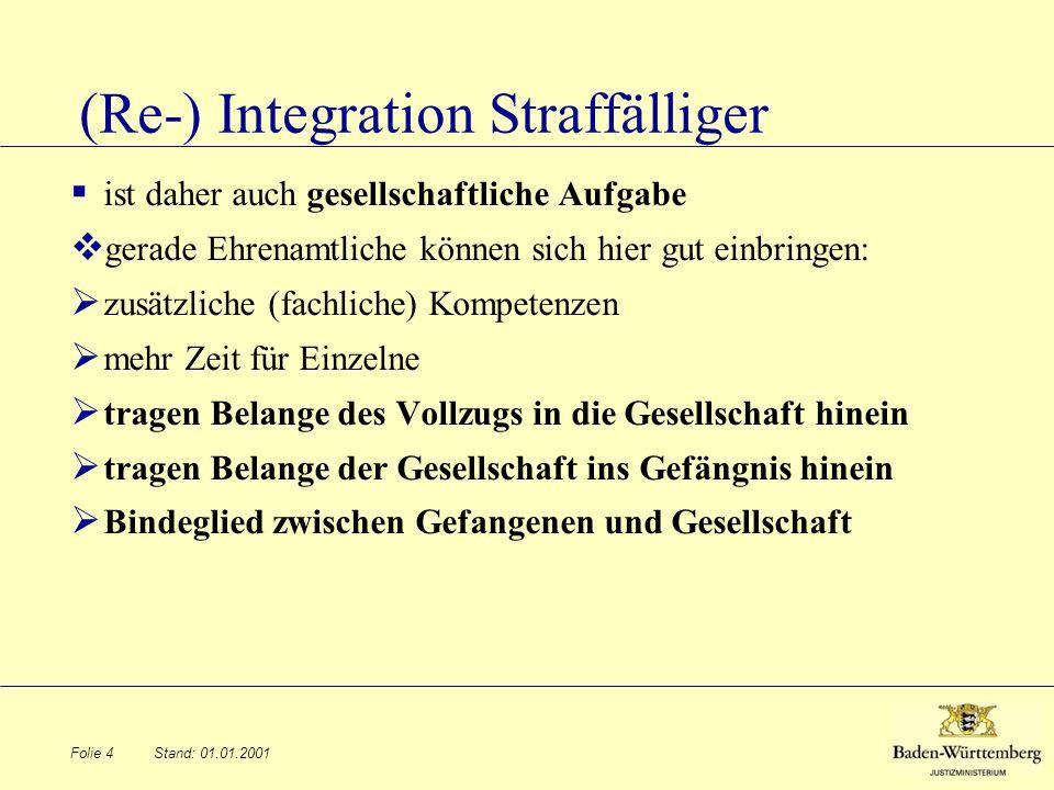 Stand: 01.01.2001 (Re-) Integration Straffälliger ist daher auch gesellschaftliche Aufgabe gerade Ehrenamtliche können sich hier gut einbringen: zusät