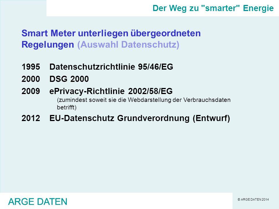 © ARGE DATEN 2014 ARGE DATEN Smart Meter unterliegen übergeordneten Regelungen (Auswahl Datenschutz) 1995Datenschutzrichtlinie 95/46/EG 2000DSG 2000 2009ePrivacy-Richtlinie 2002/58/EG (zumindest soweit sie die Webdarstellung der Verbrauchsdaten betrifft) 2012EU-Datenschutz Grundverordnung (Entwurf) Der Weg zu smarter Energie ARGE DATEN