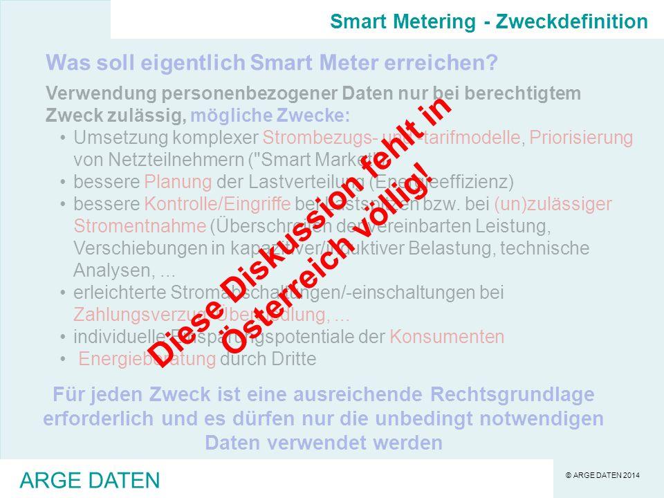 © ARGE DATEN 2014 ARGE DATEN Was soll eigentlich Smart Meter erreichen.