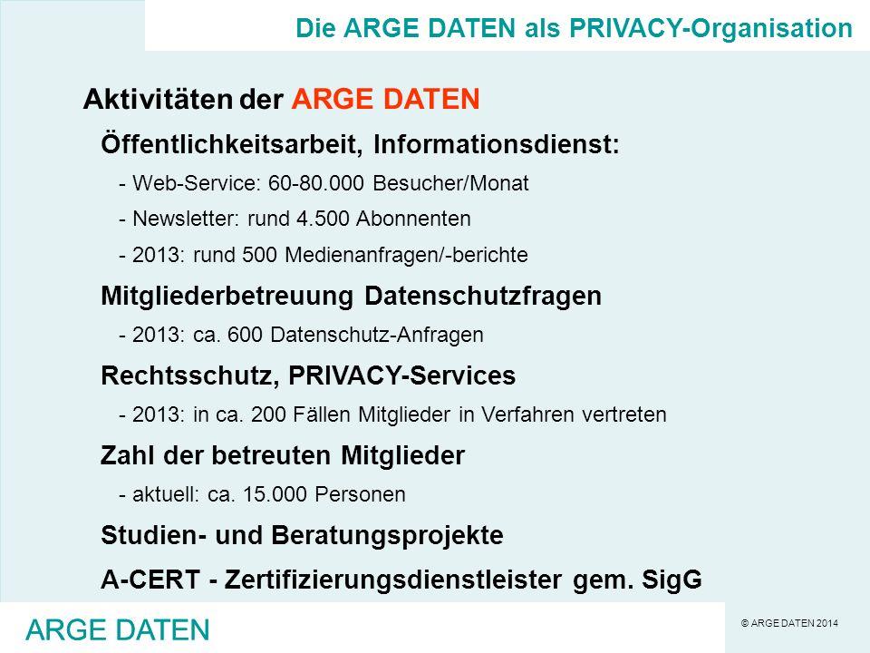 © ARGE DATEN 2014 ARGE DATEN Es sind nicht bloß Daten vor den Menschen zu schützen, sondern den Menschen ist in der Informationsgesell-schaft das Grundrecht auf Privatsphäre zu sichern.