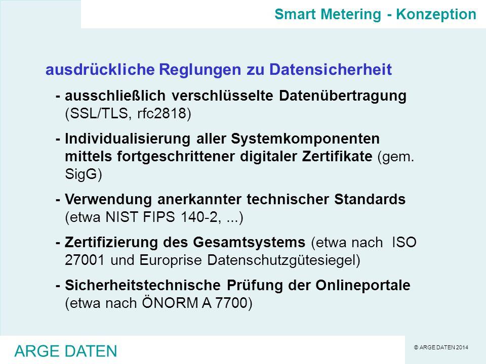 © ARGE DATEN 2014 ARGE DATEN ausdrückliche Reglungen zu Datensicherheit -ausschließlich verschlüsselte Datenübertragung (SSL/TLS, rfc2818) -Individualisierung aller Systemkomponenten mittels fortgeschrittener digitaler Zertifikate (gem.