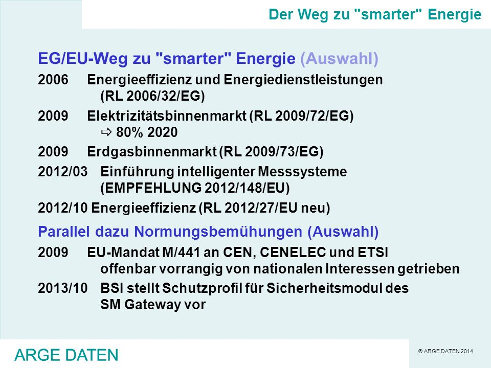 © ARGE DATEN 2014 ARGE DATEN EG/EU-Weg zu smarter Energie (Auswahl) 2006Energieeffizienz und Energiedienstleistungen (RL 2006/32/EG) 2009Elektrizitätsbinnenmarkt (RL 2009/72/EG) 80% 2020 2009Erdgasbinnenmarkt (RL 2009/73/EG) 2012/03Einführung intelligenter Messsysteme (EMPFEHLUNG 2012/148/EU) 2012/10 Energieeffizienz (RL 2012/27/EU neu) Parallel dazu Normungsbemühungen (Auswahl) 2009EU-Mandat M/441 an CEN, CENELEC und ETSI offenbar vorrangig von nationalen Interessen getrieben 2013/10BSI stellt Schutzprofil für Sicherheitsmodul des SM Gateway vor Der Weg zu smarter Energie ARGE DATEN