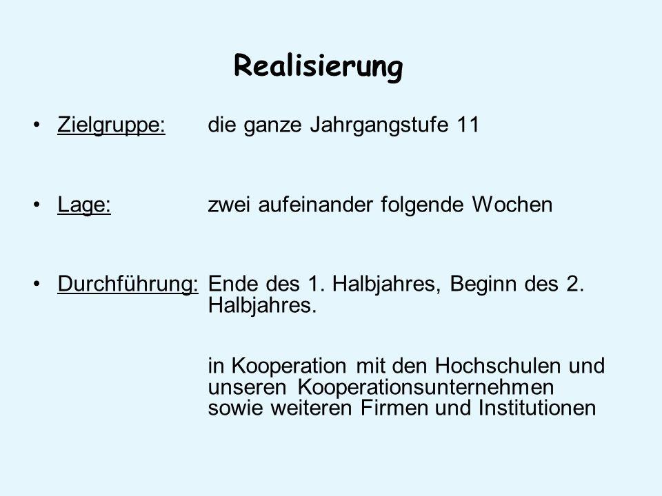 Realisierung Zielgruppe: die ganze Jahrgangstufe 11 Lage: zwei aufeinander folgende Wochen Durchführung: Ende des 1.