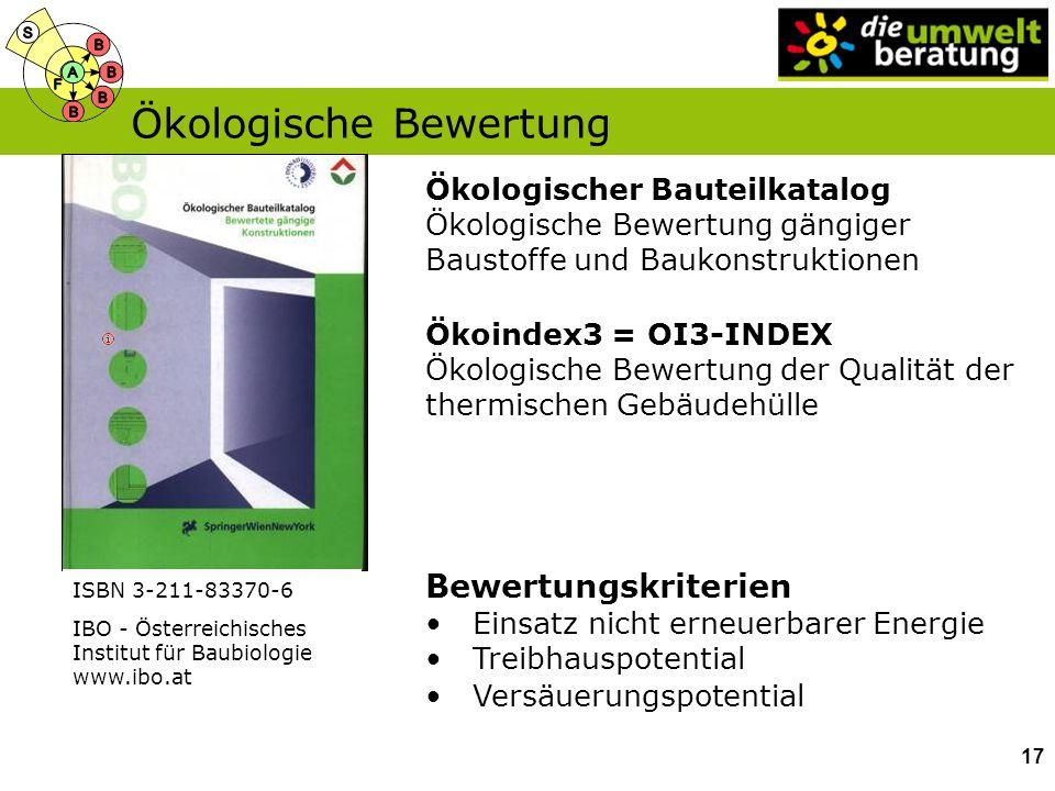 Ökologischer Bauteilkatalog Ökologische Bewertung gängiger Baustoffe und Baukonstruktionen ISBN 3-211-83370-6 Bewertungskriterien Einsatz nicht erneue