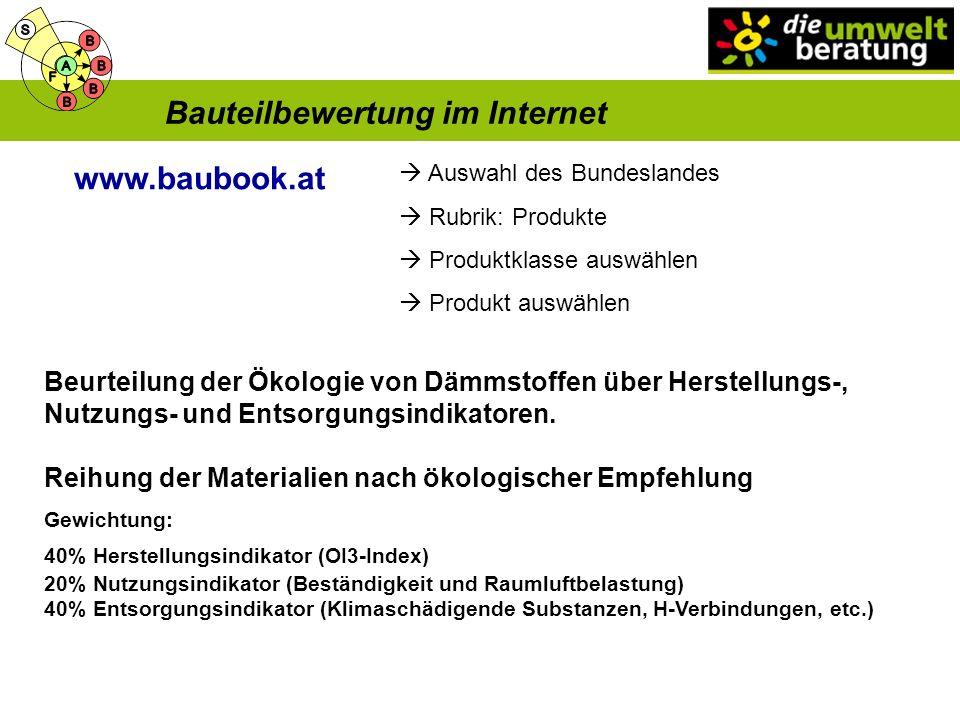 Bauteilbewertung im Internet www.baubook.at Auswahl des Bundeslandes Rubrik: Produkte Produktklasse auswählen Produkt auswählen Beurteilung der Ökologie von Dämmstoffen über Herstellungs-, Nutzungs- und Entsorgungsindikatoren.