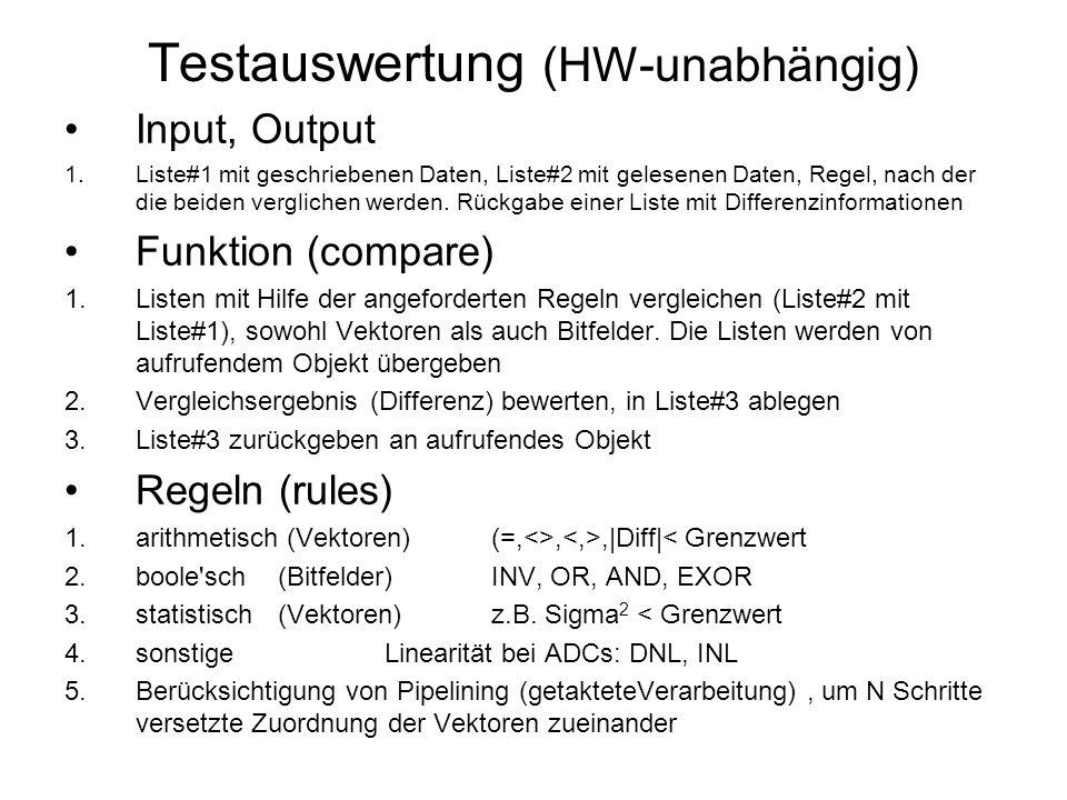Testauswertung (HW-unabhängig) Input, Output 1.Liste#1 mit geschriebenen Daten, Liste#2 mit gelesenen Daten, Regel, nach der die beiden verglichen werden.