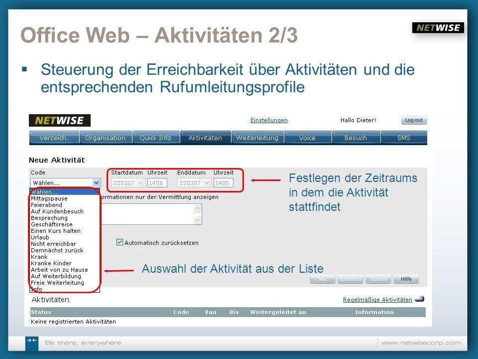 Office Web – Aktivitäten 2/3 Steuerung der Erreichbarkeit über Aktivitäten und die entsprechenden Rufumleitungsprofile Auswahl der Aktivität aus der L