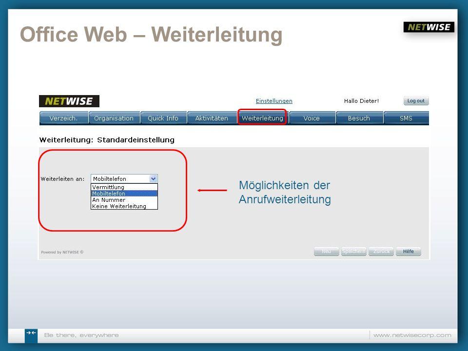 Office Web – Weiterleitung Möglichkeiten der Anrufweiterleitung