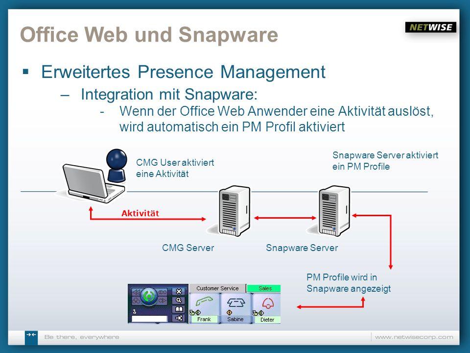 Office Web und Snapware Erweitertes Presence Management –Integration mit Snapware: -Wenn der Office Web Anwender eine Aktivität auslöst, wird automati