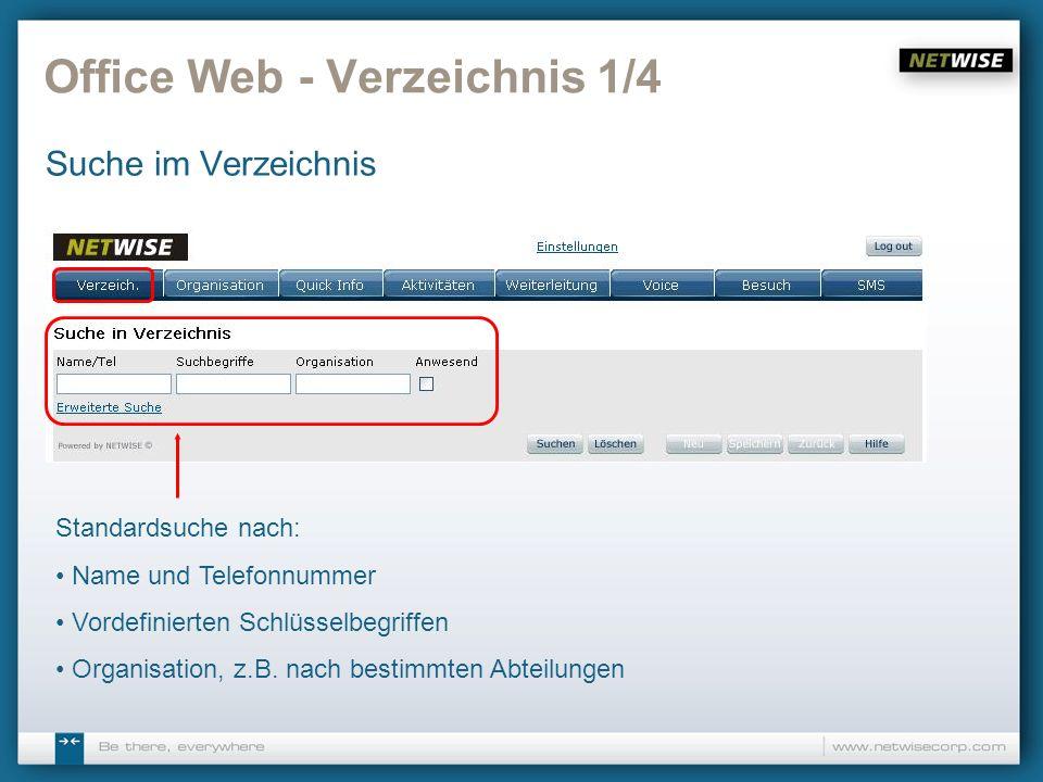 Office Web - Verzeichnis 1/4 Suche im Verzeichnis Standardsuche nach: Name und Telefonnummer Vordefinierten Schlüsselbegriffen Organisation, z.B. nach