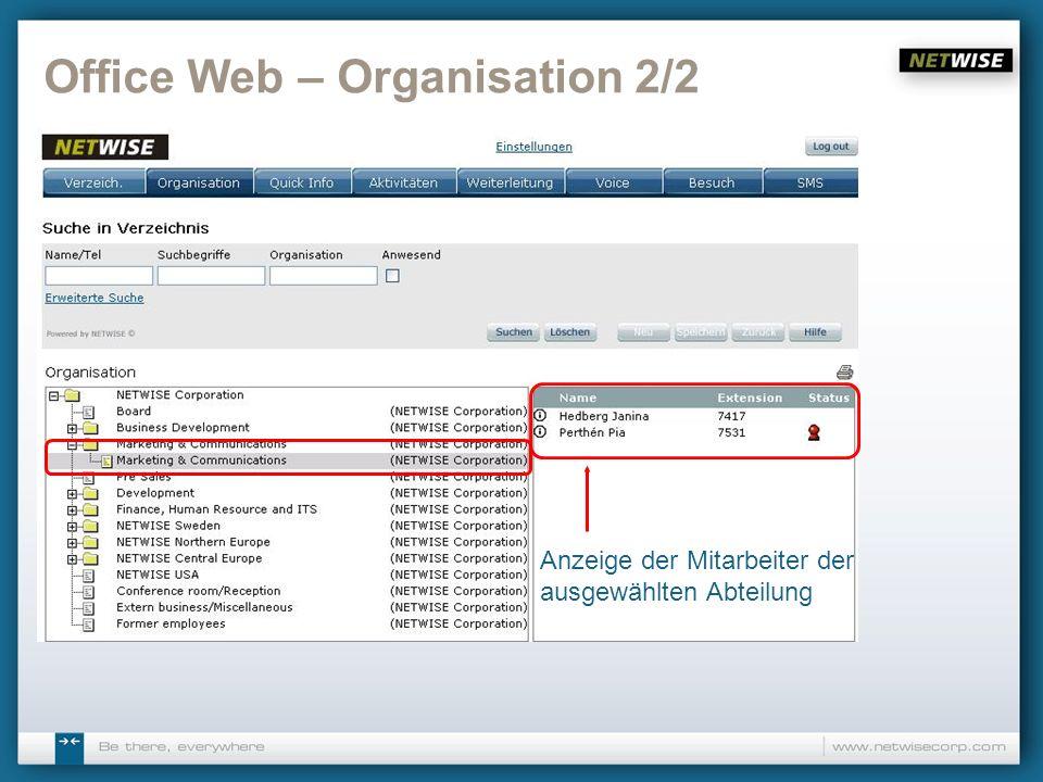 Office Web – Organisation 2/2 Anzeige der Mitarbeiter der ausgewählten Abteilung