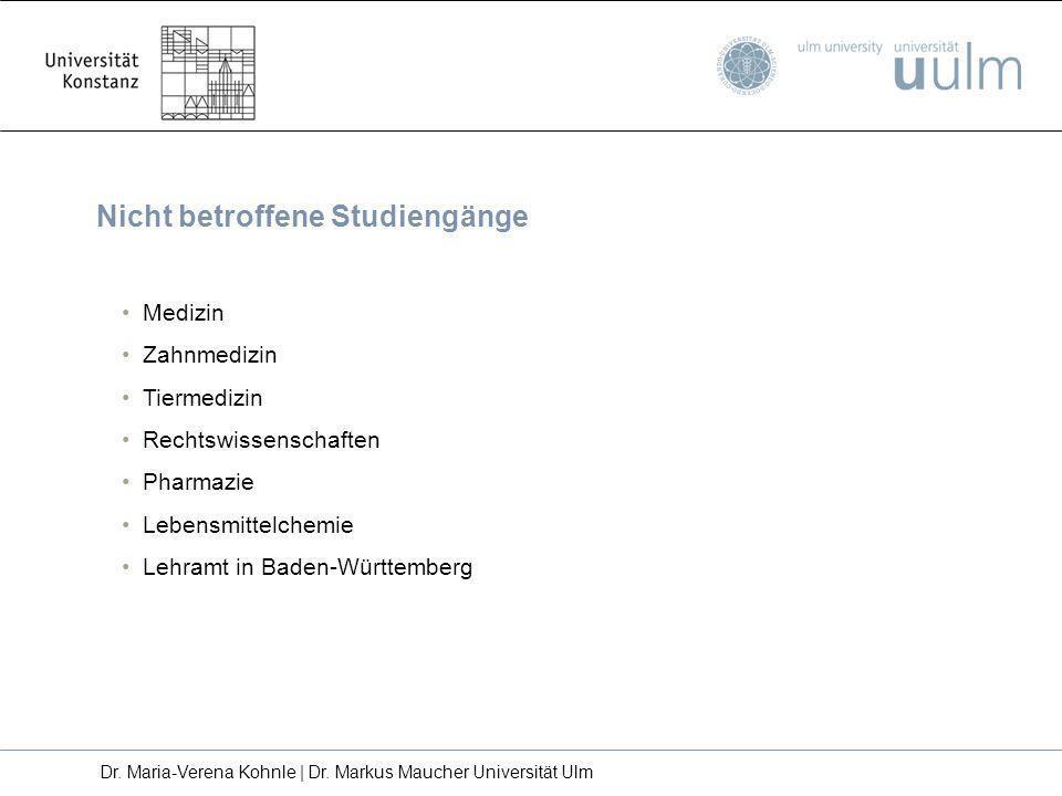 Nicht betroffene Studiengänge Medizin Zahnmedizin Tiermedizin Rechtswissenschaften Pharmazie Lebensmittelchemie Lehramt in Baden-Württemberg Dr. Maria