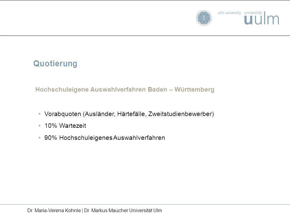 Quotierung Hochschuleigene Auswahlverfahren Baden – Württemberg Vorabquoten (Ausländer, Härtefälle, Zweitstudienbewerber) 10% Wartezeit 90% Hochschule