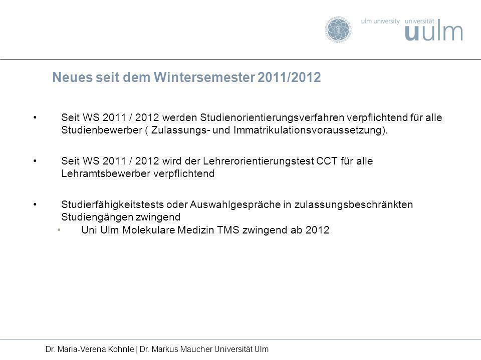 Seit WS 2011 / 2012 werden Studienorientierungsverfahren verpflichtend für alle Studienbewerber ( Zulassungs- und Immatrikulationsvoraussetzung). Seit