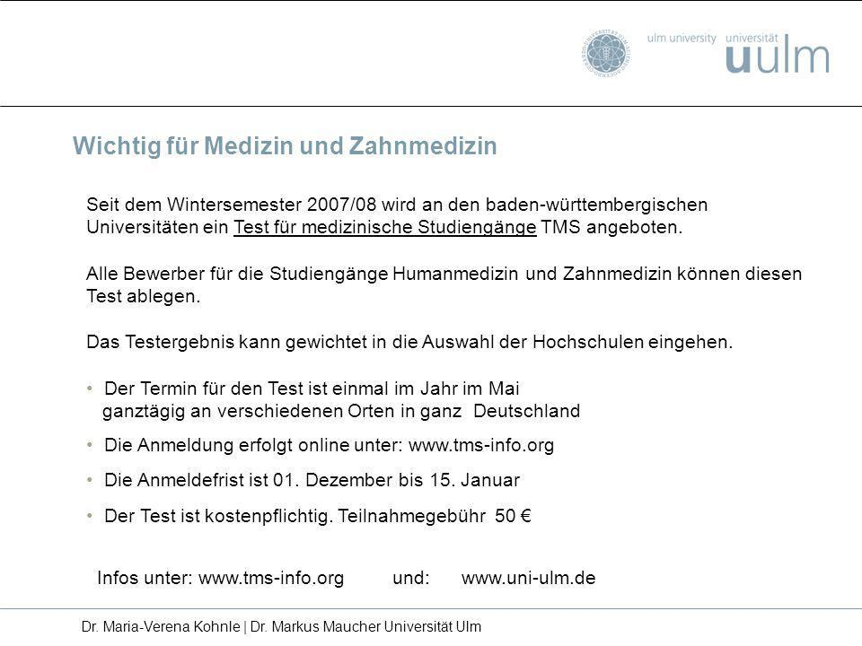 Seit dem Wintersemester 2007/08 wird an den baden-württembergischen Universitäten ein Test für medizinische Studiengänge TMS angeboten. Alle Bewerber