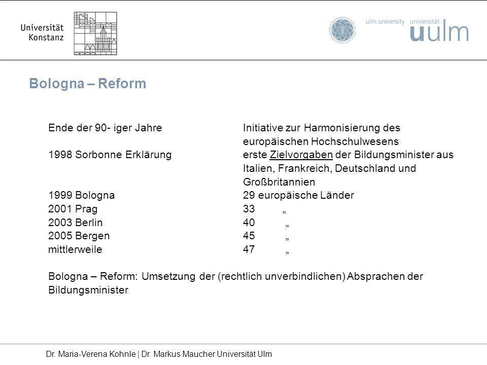 Ziele der Bologna Reform Schaffung eines Systems leicht verständlicher und vergleichbarer Abschlüsse (z.B.