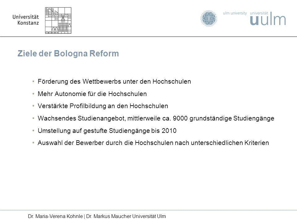 Förderung des Wettbewerbs unter den Hochschulen Mehr Autonomie für die Hochschulen Verstärkte Profilbildung an den Hochschulen Wachsendes Studienangeb