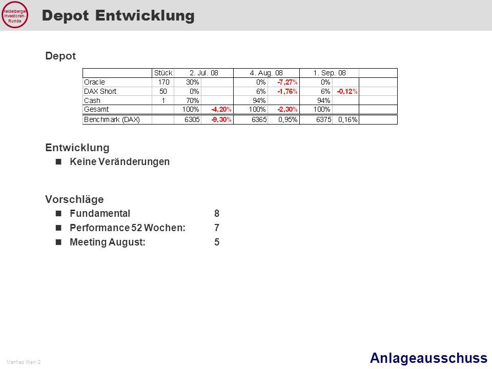 Anlageausschuss Manfred Wahl 2 Heidelberger Investoren- Runde Depot Entwicklung Depot Entwicklung Keine Veränderungen Vorschläge Fundamental8 Performance 52 Wochen: 7 Meeting August: 5