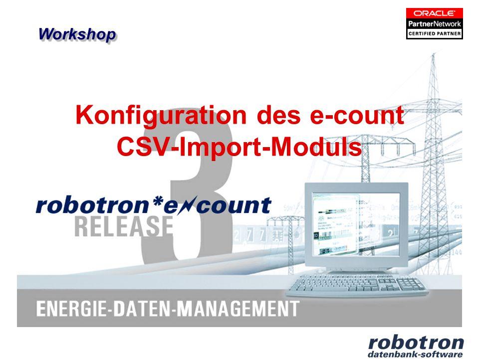 robotron* e count Vorschau der importierten Daten Aktualisierung der Vorschau über Button Datei neu laden