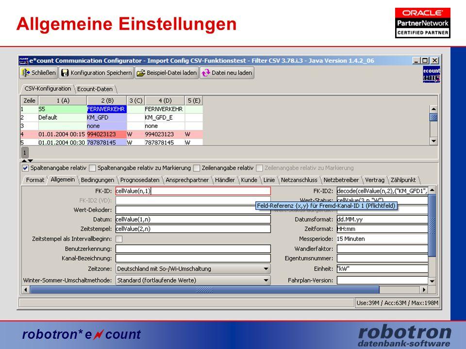 robotron* e count Allgemeine Einstellungen