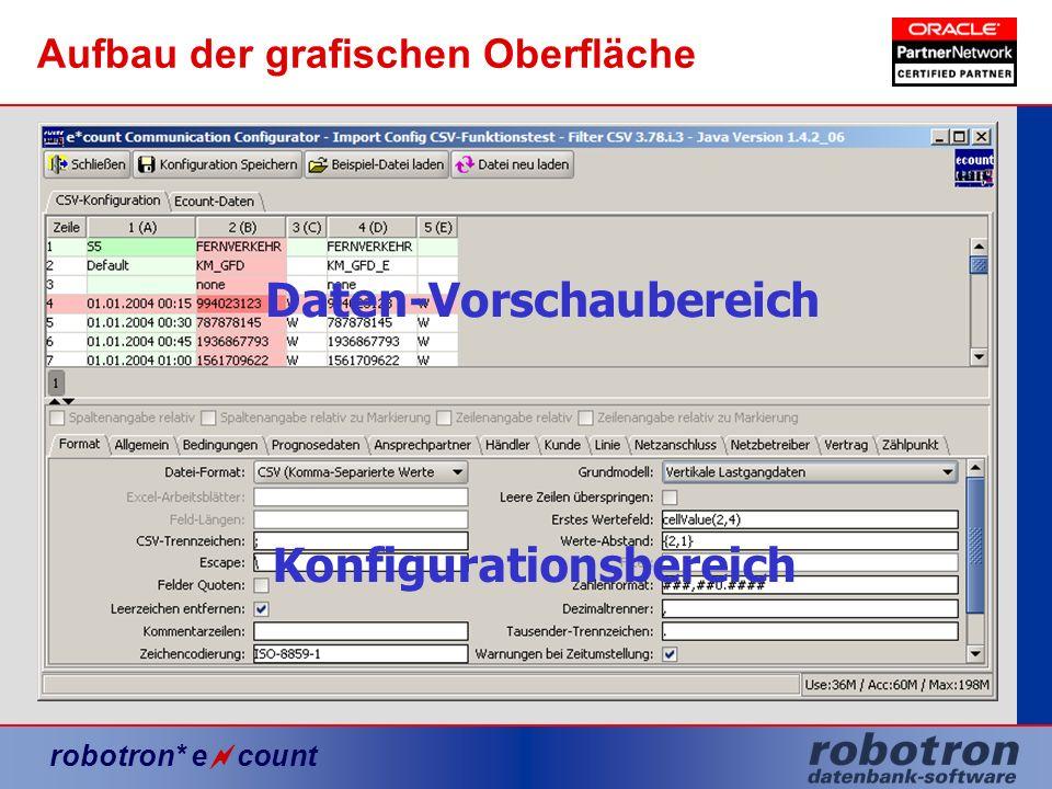 robotron* e count Aufbau der grafischen Oberfläche Daten-Vorschaubereich Konfigurationsbereich