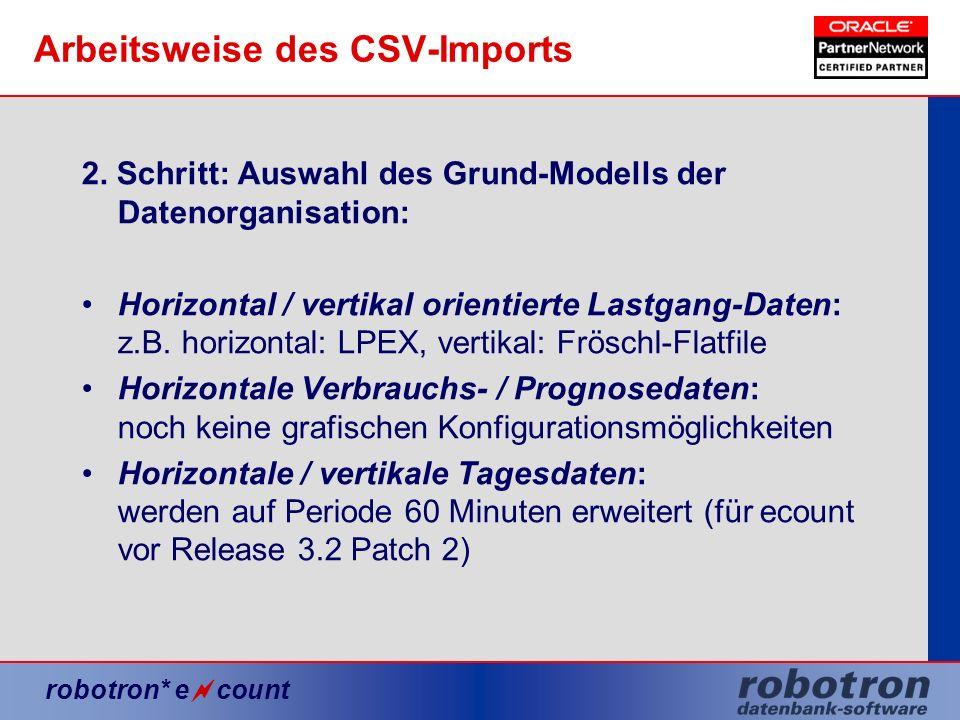 robotron* e count Arbeitsweise des CSV-Imports 2. Schritt: Auswahl des Grund-Modells der Datenorganisation: Horizontal / vertikal orientierte Lastgang
