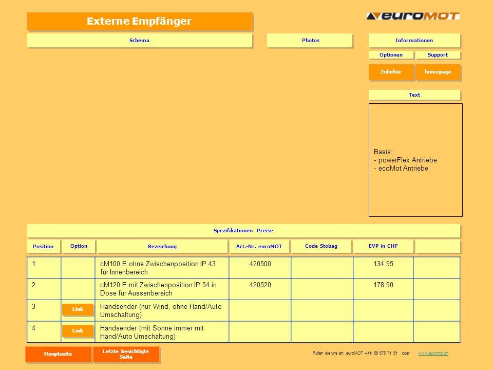 Externe Empfänger 1cM100 E ohne Zwischenposition IP 43 für Innenbereich 420500134.95 2cM120 E mit Zwischenposition IP 54 in Dose für Aussenbereich 420