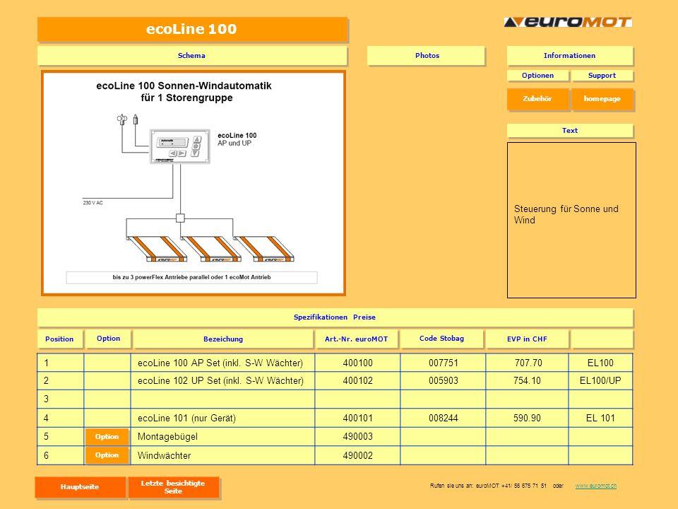 ecoLine 100 1ecoLine 100 AP Set (inkl. S-W Wächter)400100007751 707.70EL100 2ecoLine 102 UP Set (inkl. S-W Wächter)400102005903754.10EL100/UP 3 4ecoLi