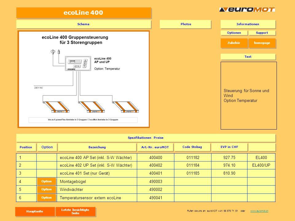 ecoLine 400 1ecoLine 400 AP Set (inkl. S-W Wächter)400400011182927.75EL400 2ecoLine 402 UP Set (inkl. S-W Wächter)400402011184974.10EL400/UP 3ecoLine