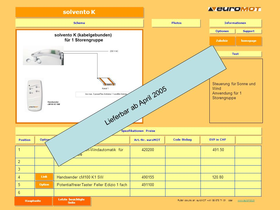 solvento K 1solvento K Sonnen-Windautomatik für 230 V Antriebe 420200 491.50 2 3 4Handsender cM100 K1 SW490155120.80 5Potentialfreier Taster Feller Ed