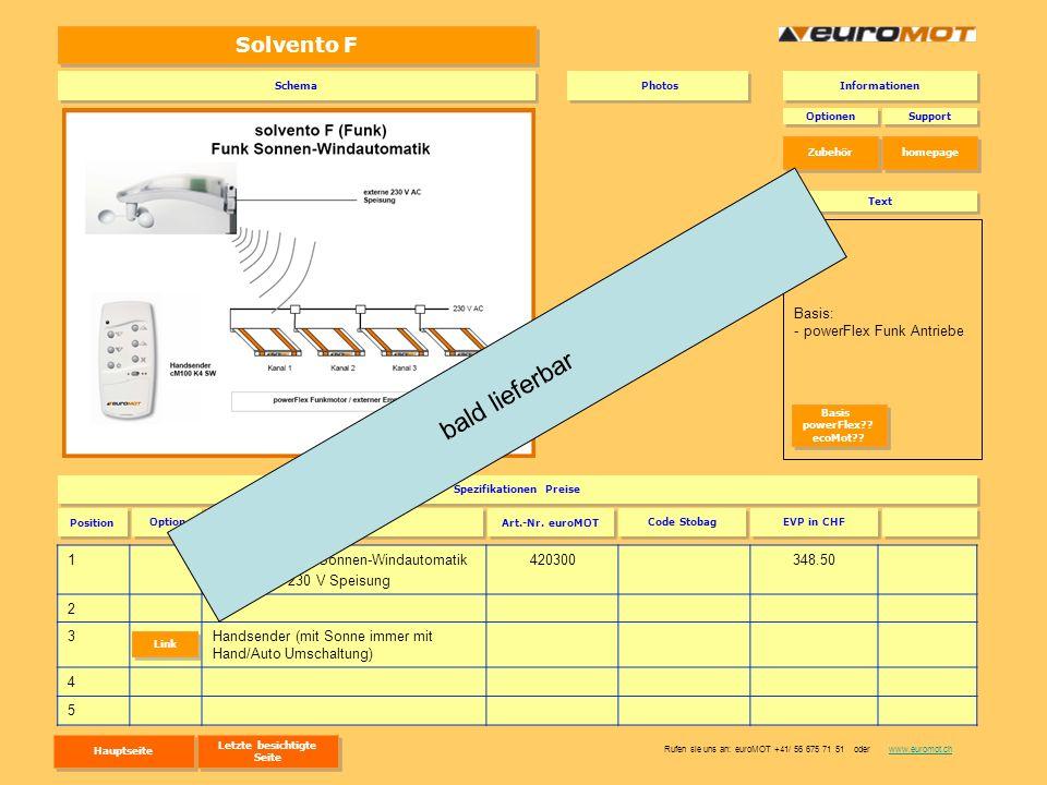 Solvento F 1solvento F Funk-Sonnen-Windautomatik mit externe 230 V Speisung 420300348.50 2 3Handsender (mit Sonne immer mit Hand/Auto Umschaltung) 4 5