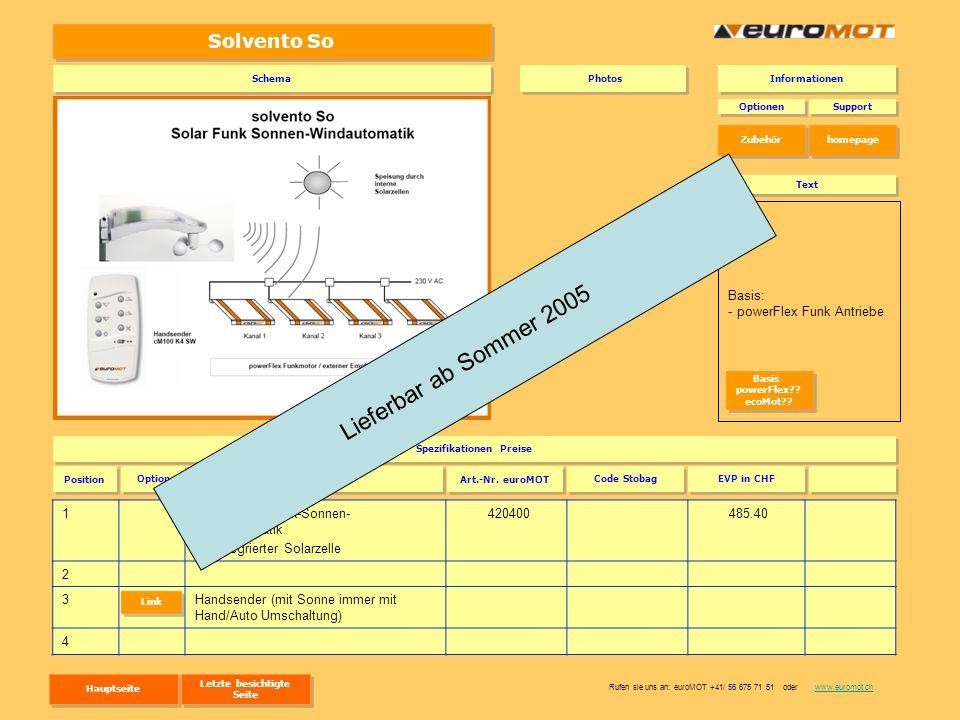 Solvento So 1solvento So Funk-Sonnen- Windautomatik mit integrierter Solarzelle 420400 485.40 2 3Handsender (mit Sonne immer mit Hand/Auto Umschaltung