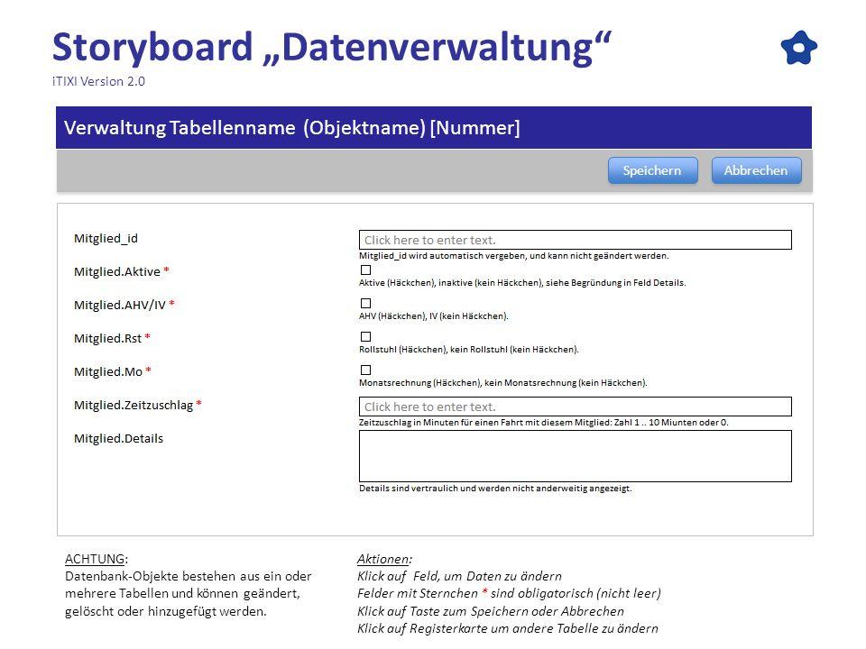 Storyboard Datenverwaltung iTIXI Version 2.0 Speichern Abbrechen Aktionen: Klick auf Feld, um Daten zu ändern Felder mit Sternchen * sind obligatorisc