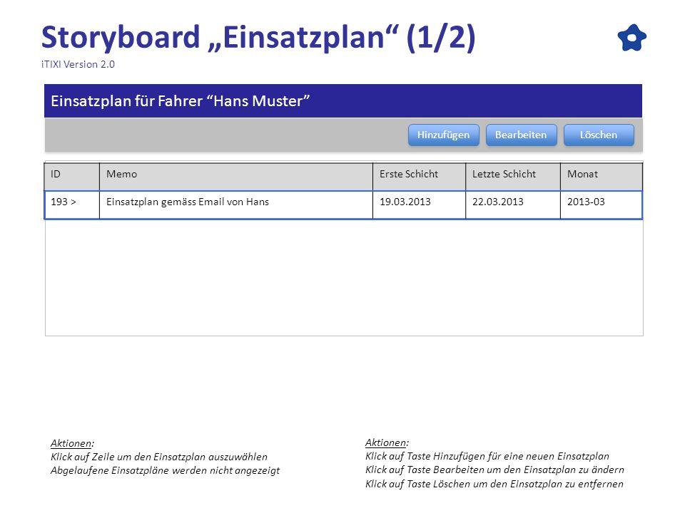 Storyboard Einsatzplan (1/2) iTIXI Version 2.0 Einsatzplan für Fahrer Hans Muster Bearbeiten Löschen Hinzufügen Aktionen: Klick auf Zeile um den Einsa