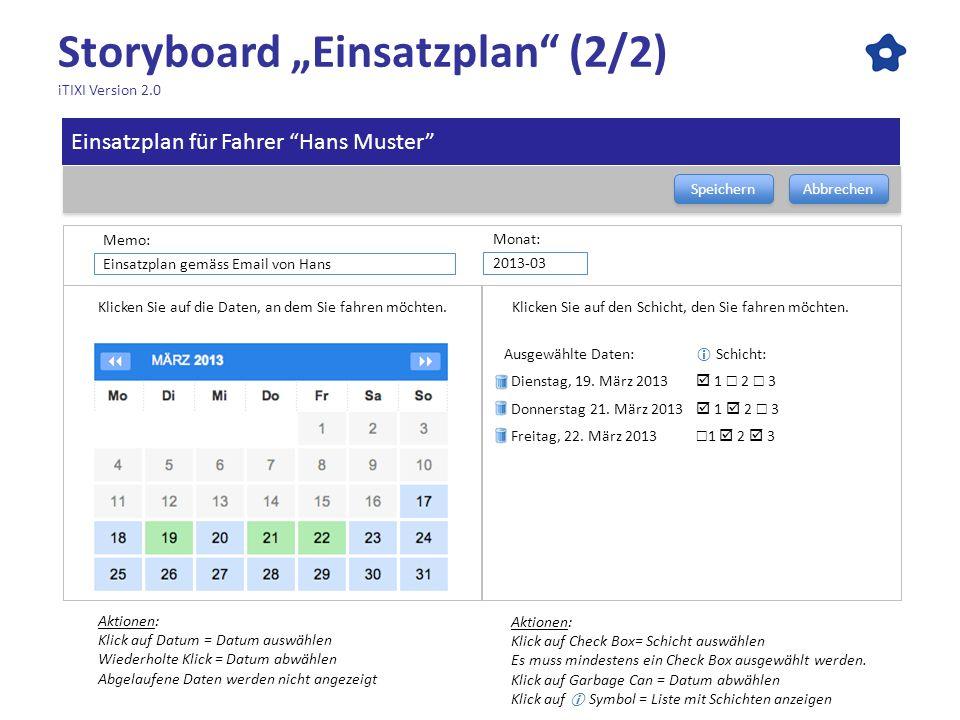 Storyboard Einsatzplan (2/2) iTIXI Version 2.0 Speichern Abbrechen Ausgewählte Daten: Schicht: Dienstag, 19. März 2013 1 2 3 Donnerstag 21. März 2013