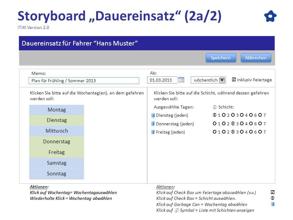 Storyboard Dauereinsatz (2a/2) iTIXI Version 2.0 Speichern Abbrechen Aktionen: Klick auf Wochentag= Wochentagauswählen Wiederholte Klick = Wochentag a