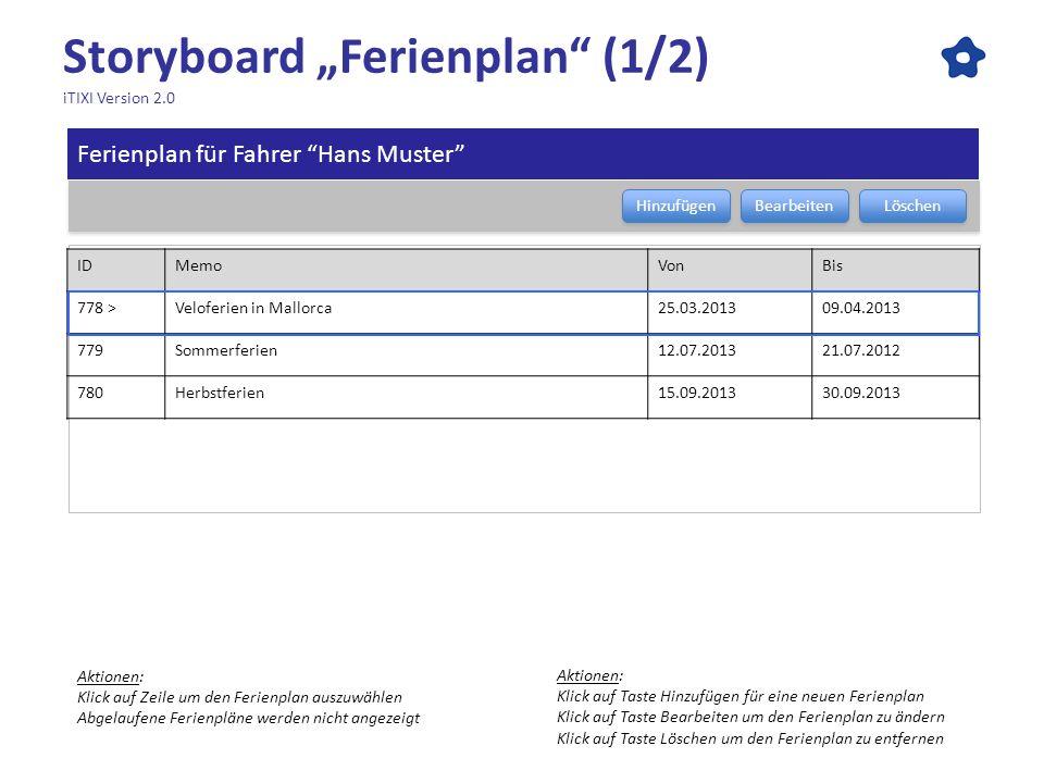 Storyboard Ferienplan (1/2) iTIXI Version 2.0 Ferienplan für Fahrer Hans Muster Bearbeiten Löschen Hinzufügen IDMemoVonBis 778 >Veloferien in Mallorca