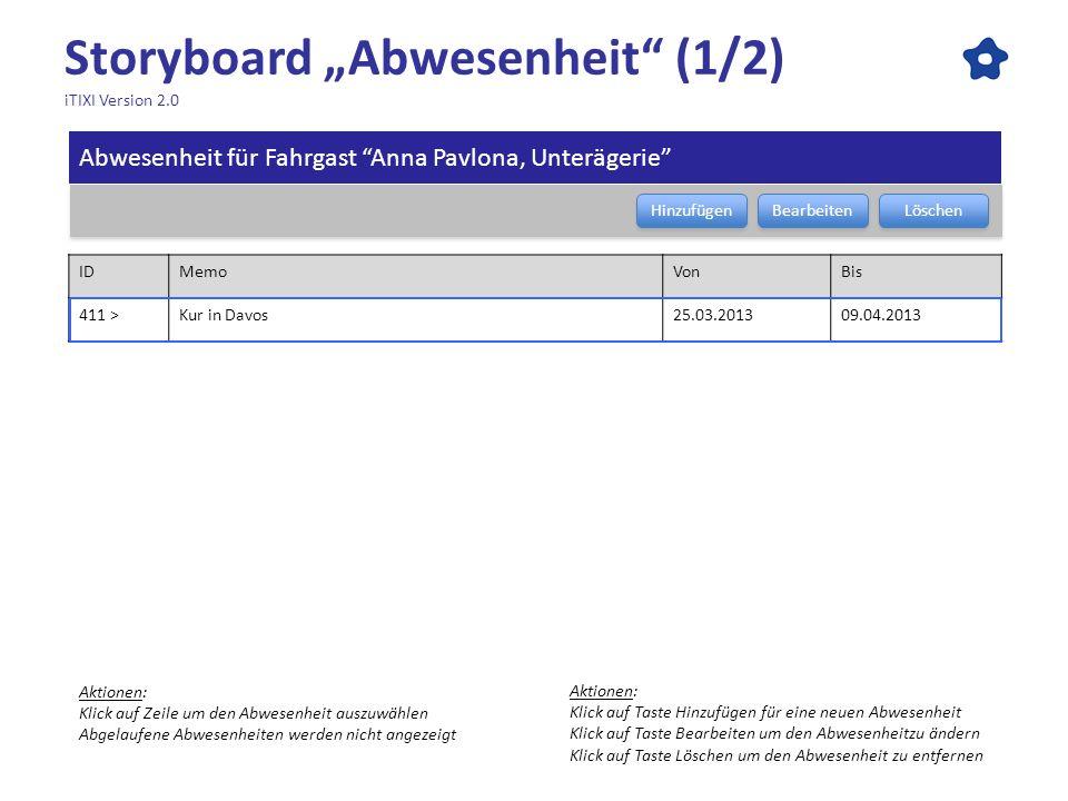 Storyboard Abwesenheit (1/2) iTIXI Version 2.0 Abwesenheit für Fahrgast Anna Pavlona, Unterägerie Bearbeiten Löschen Hinzufügen IDMemoVonBis 411 >Kur