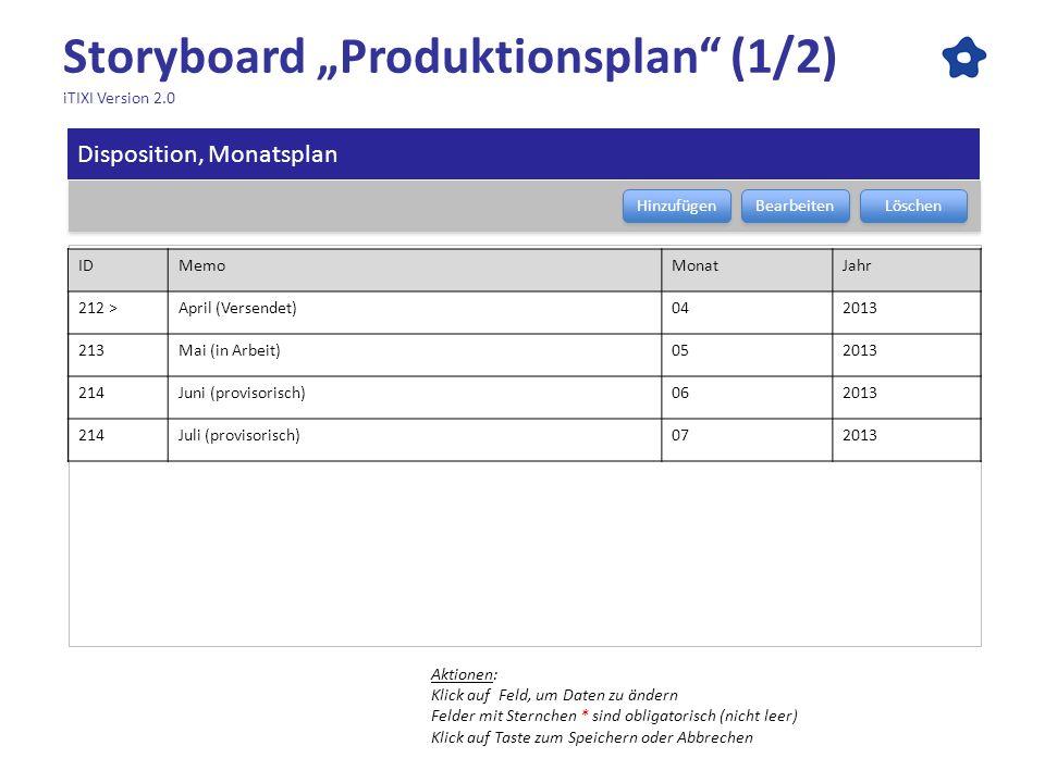 Storyboard Produktionsplan (1/2) iTIXI Version 2.0 Aktionen: Klick auf Feld, um Daten zu ändern Felder mit Sternchen * sind obligatorisch (nicht leer)
