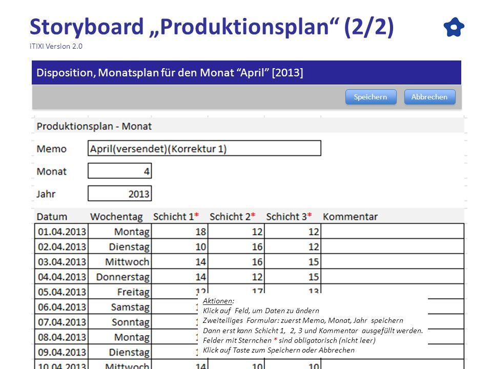 Storyboard Produktionsplan (2/2) iTIXI Version 2.0 Speichern Abbrechen Disposition, Monatsplan für den Monat April [2013] Aktionen: Klick auf Feld, um