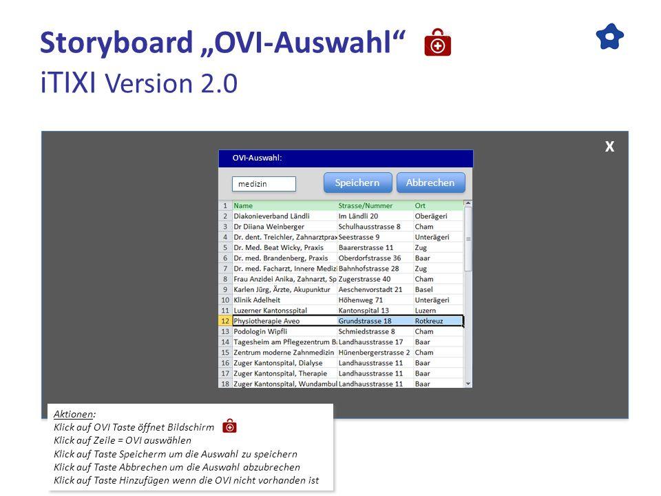 Storyboard OVI-Auswahl iTIXI Version 2.0 Aktionen: Klick auf OVI Taste öffnet Bildschirm Klick auf Zeile = OVI auswählen Klick auf Taste Speicherm um