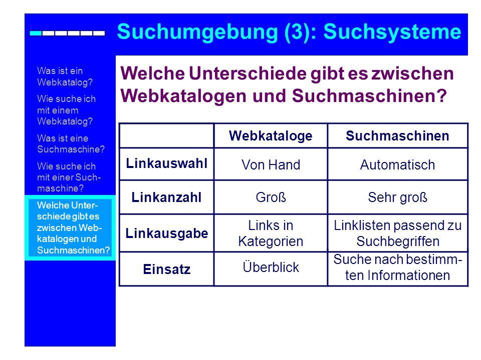 Welche Unterschiede gibt es zwischen Webkatalogen und Suchmaschinen? Suchumgebung (3): Suchsysteme Was ist ein Webkatalog? Wie suche ich mit einem Web