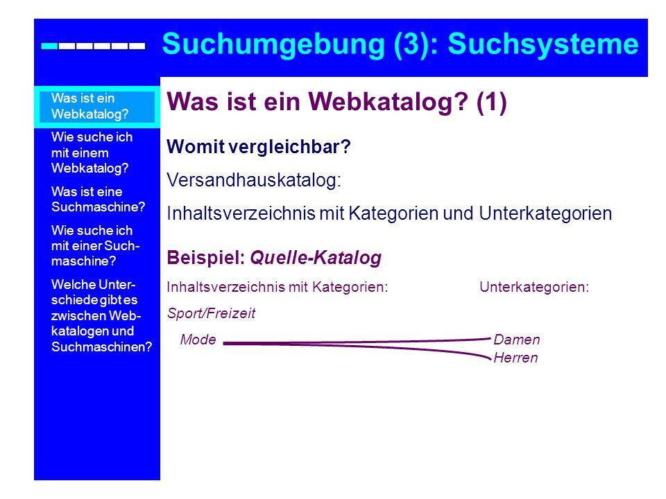 Was ist ein Webkatalog? (1) Womit vergleichbar? Versandhauskatalog: Inhaltsverzeichnis mit Kategorien und Unterkategorien Beispiel: Quelle-Katalog Inh