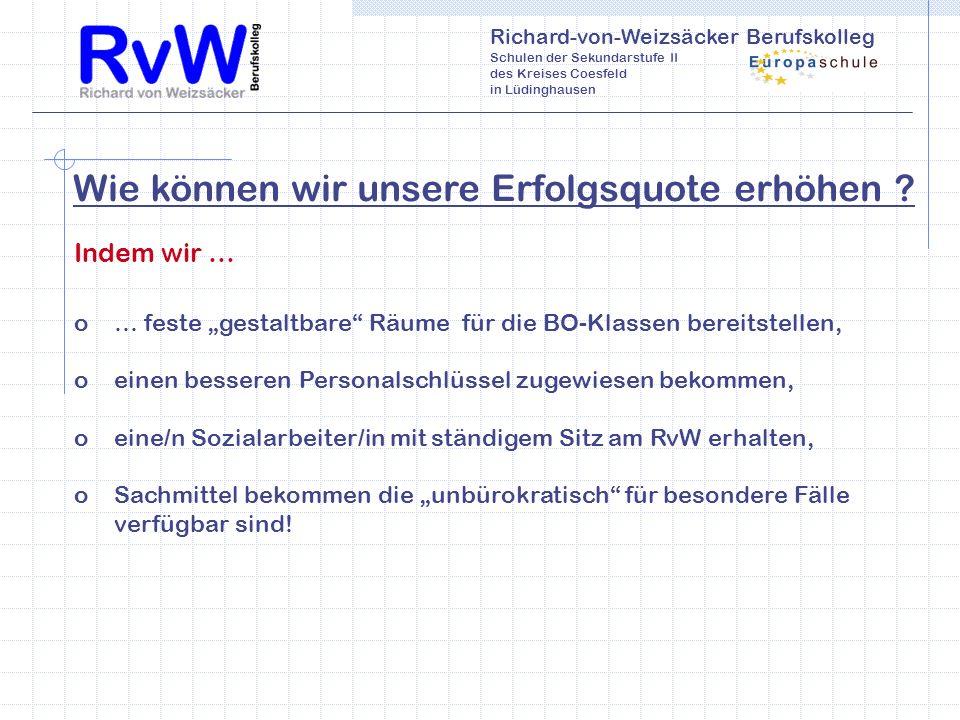 Richard-von-Weizsäcker Berufskolleg Schulen der Sekundarstufe II des Kreises Coesfeld in Lüdinghausen Wie können wir unsere Erfolgsquote erhöhen .