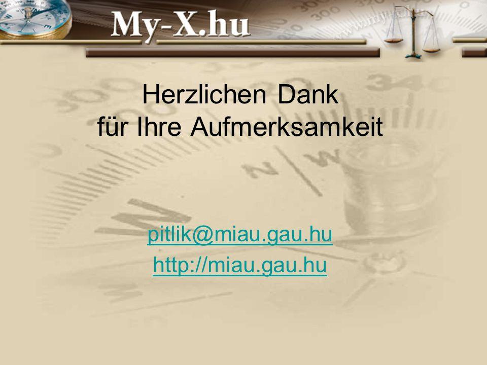 INNOCSEKK 156/2006 Herzlichen Dank für Ihre Aufmerksamkeit pitlik@miau.gau.hu http://miau.gau.hu