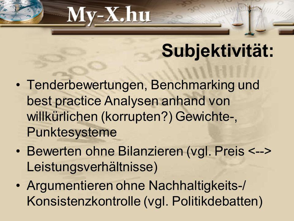 INNOCSEKK 156/2006 Subjektivität: Tenderbewertungen, Benchmarking und best practice Analysen anhand von willkürlichen (korrupten ) Gewichte-, Punktesysteme Bewerten ohne Bilanzieren (vgl.