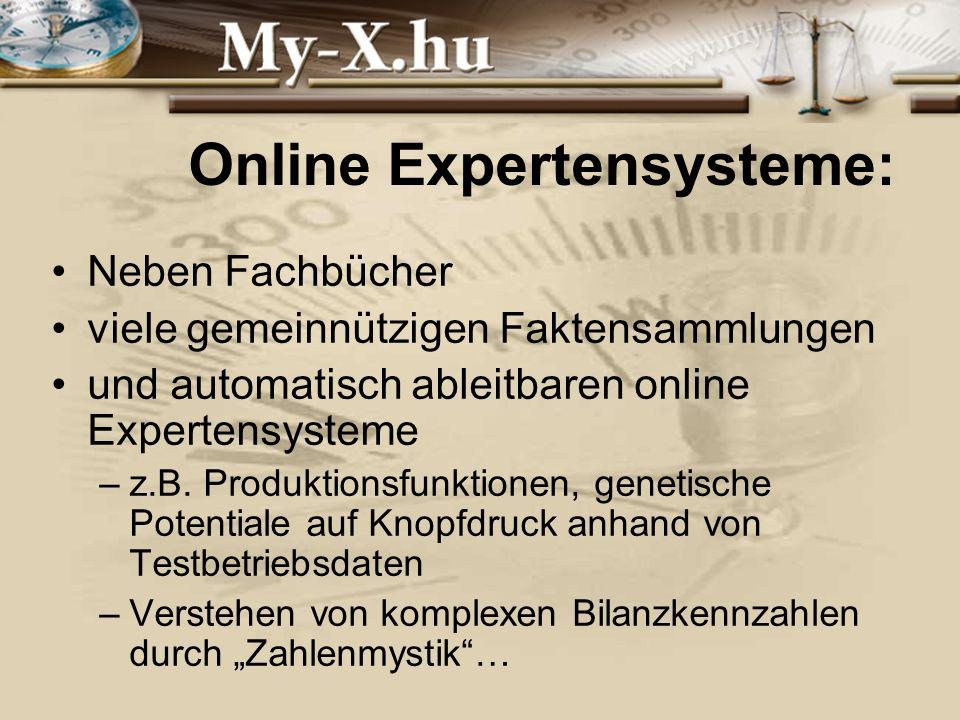INNOCSEKK 156/2006 Online Expertensysteme: Neben Fachbücher viele gemeinnützigen Faktensammlungen und automatisch ableitbaren online Expertensysteme –z.B.