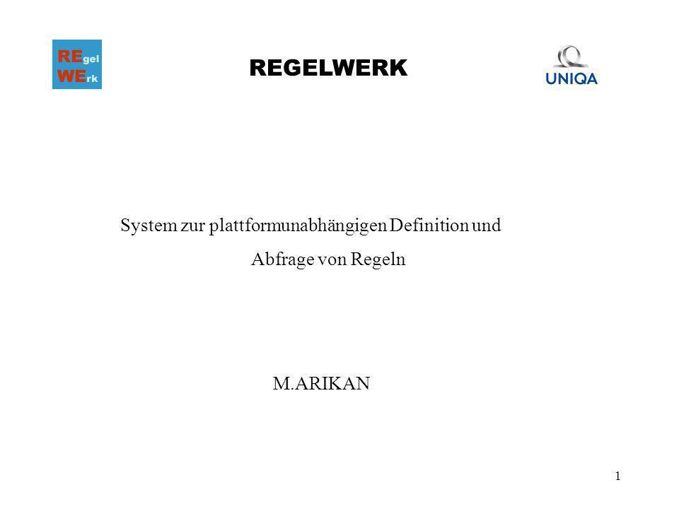 1 REGELWERK System zur plattformunabhängigen Definition und Abfrage von Regeln M.ARIKAN